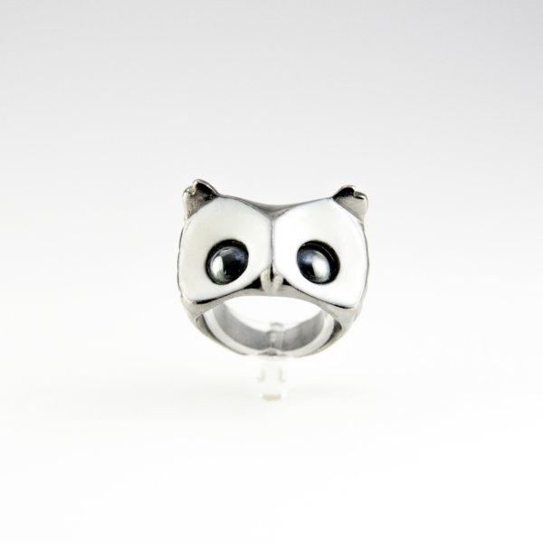 hibou foufou black and white ring